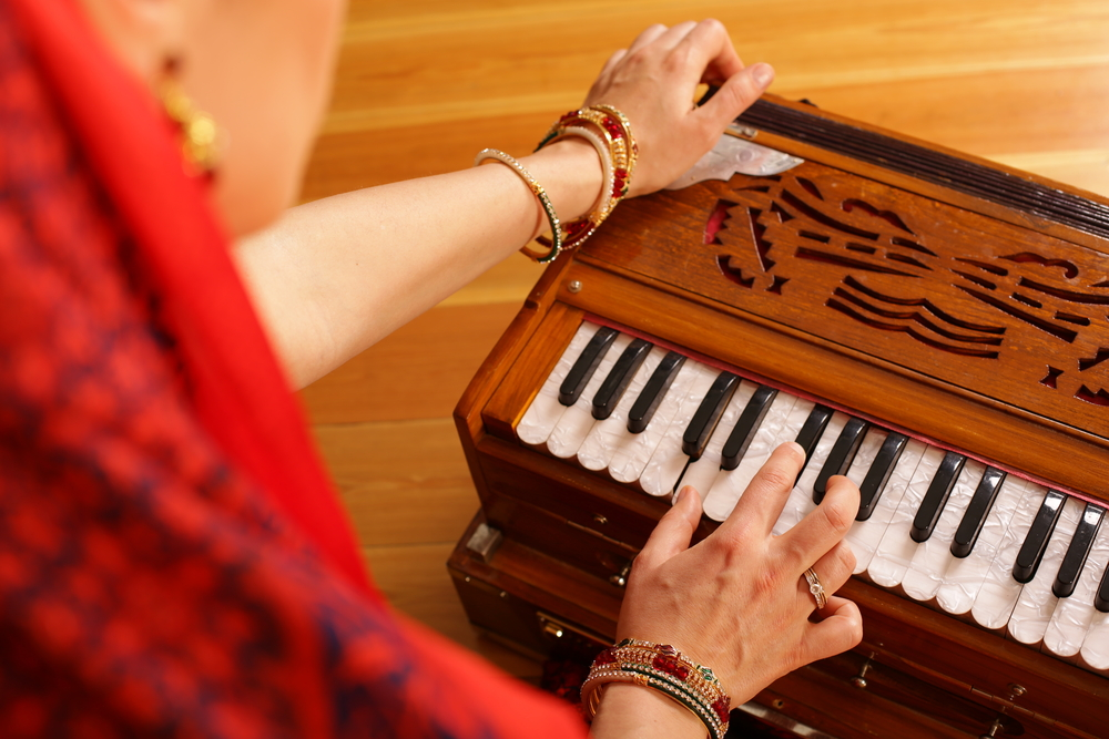 A,Young,Vaishnava,Woman,Is,Playing,Indian,Traditional,Musical,Instruments